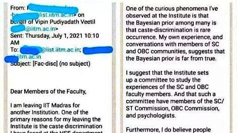 Keralite IIT Madras asst prof resigns on caste discrimination, letter goes viral