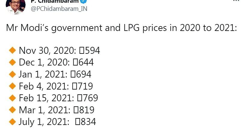 After LPG price hike, Chidambaram's 'Modi hai Mumkin hai' jibe
