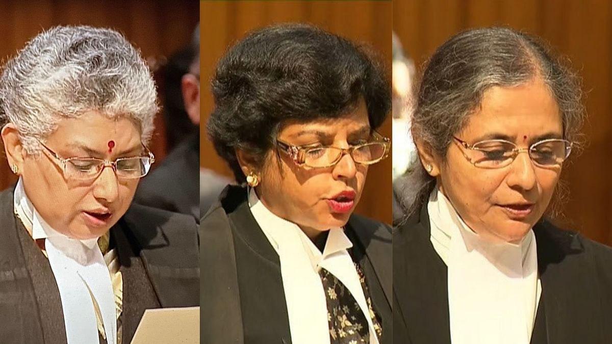 (Left to Right) Justice BV Nagarathna, Justice Hima Kohli, and Justice Bela M Trivedi
