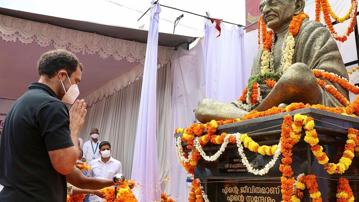 Congress leader Rahul Gandhi paying respects to Mahatma Gandhi in Wayanad