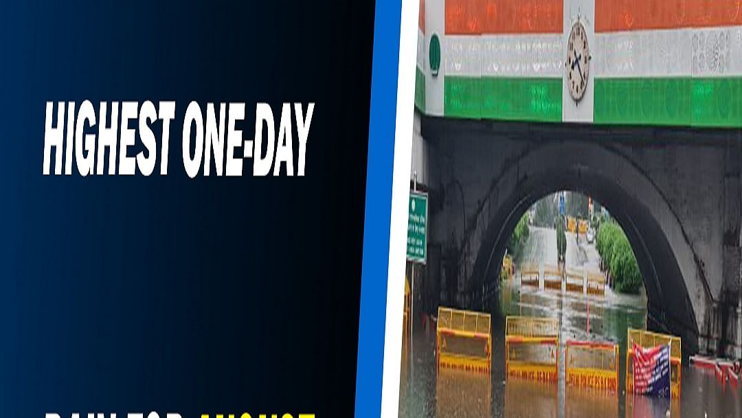 Delhi records highest one-day rain for August in 13 years; traffic snarls as roads waterlogged