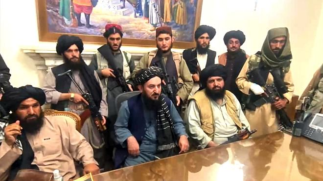 Taliban in Afghanistan's Presidential Palace