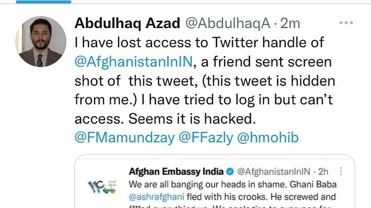Twitter account hacked, says official after Afghan embassy tweets slamming Ghani
