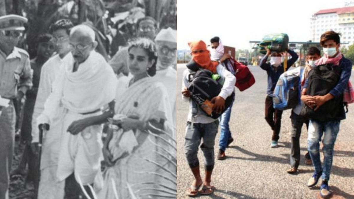 Mahatma Gandhi in Noakhali in 1946 and Migrant workers walking back home after sudden lockdown in 2020