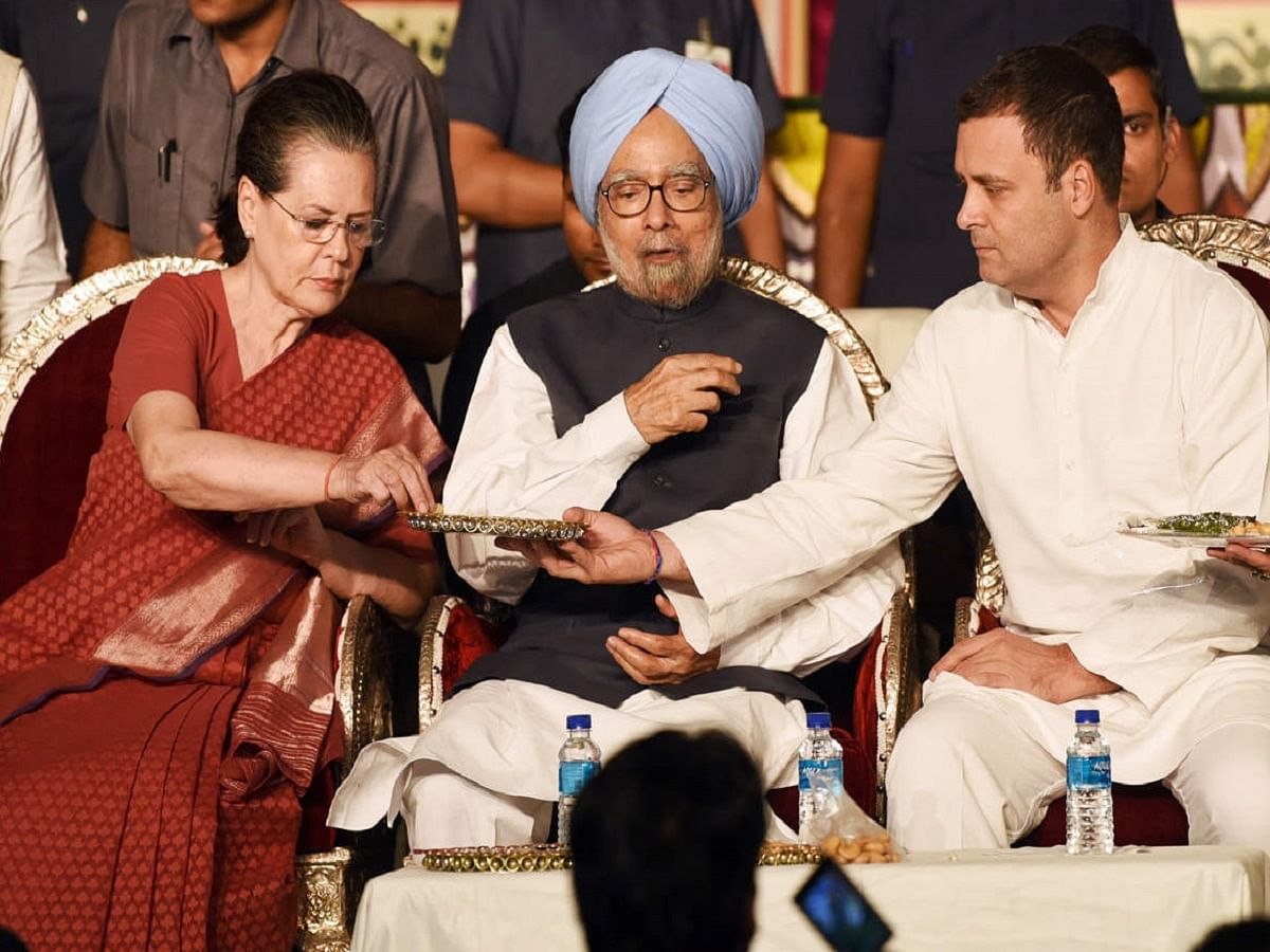 Dr Manmohan Singh with Congress leaders Sonia Gandhi and Rahul Gandhi