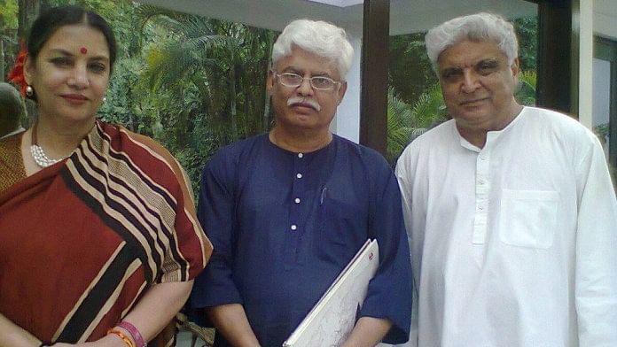 Prof Ali Javed (centre) with Shabana Azmi and Javed Akhter
