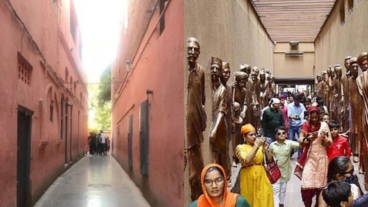 Part of Jallianwala Bagh memorial before renovation and after renovation