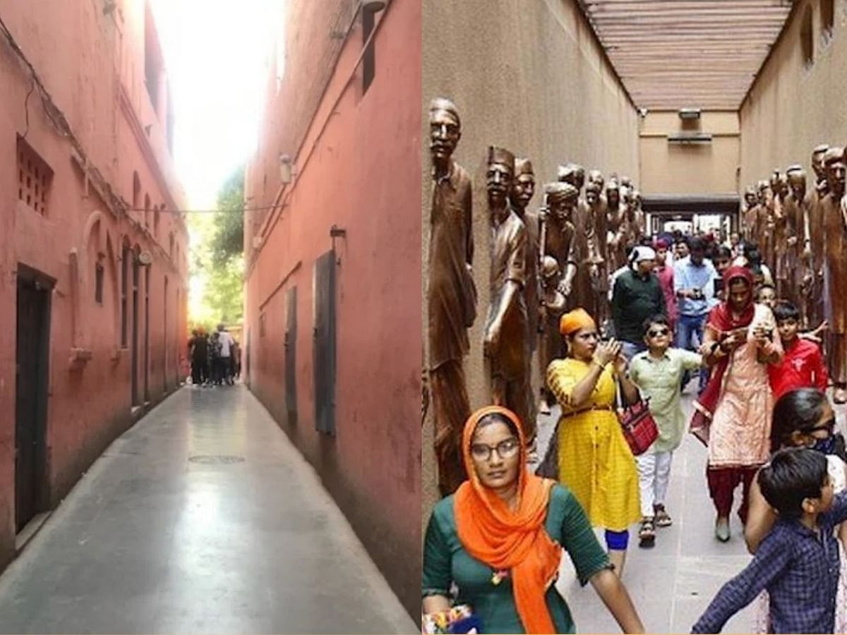 Part of Jallianwala Bagh memorial before renovation (Left) and after renovation (RIght)