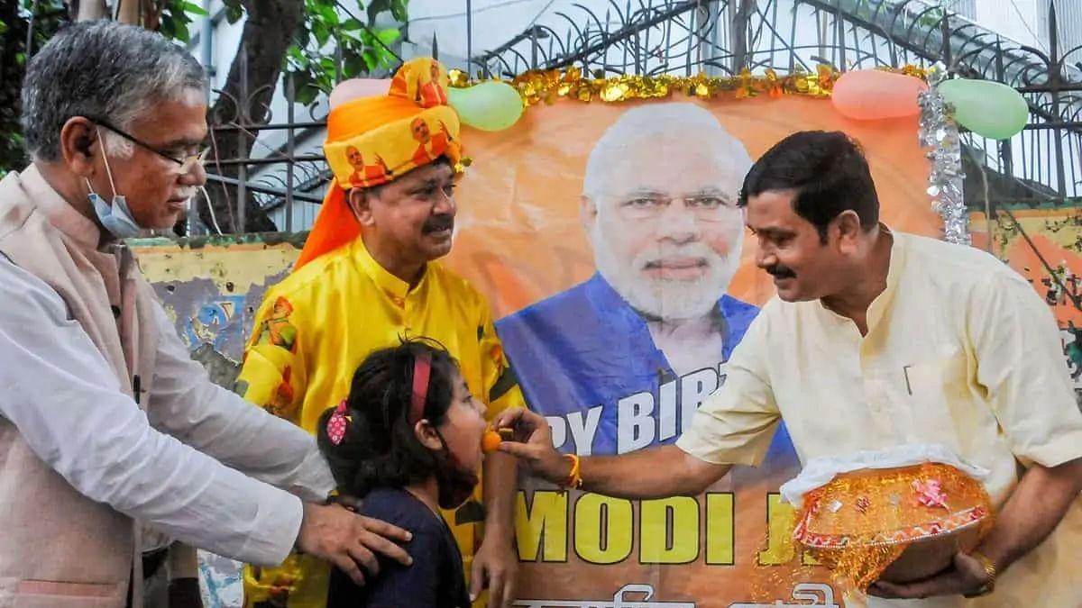 Modi supporters celebrating his birthday