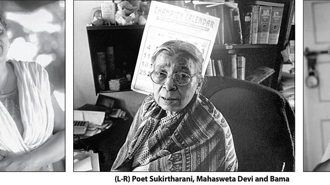 (Frome left to right) Writers Sukirtharani, Mahasweta Devi and Bama