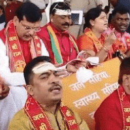 Image from Jharkhand Assembly where chants of 'Hare Rama, Hare Krishna' were raised