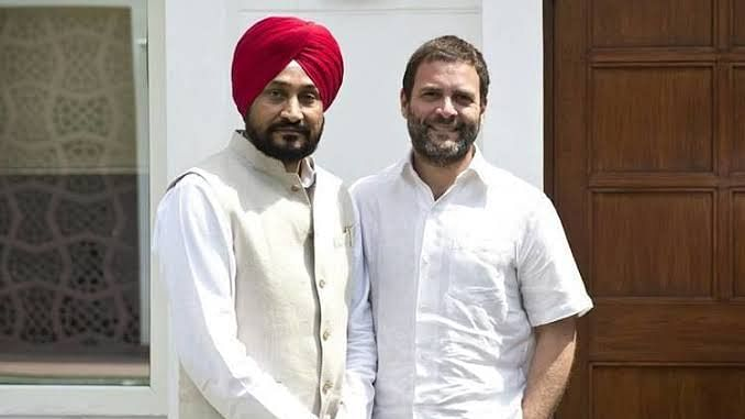Charanjit Singh Channi with Congress leader Rahul Gandhi