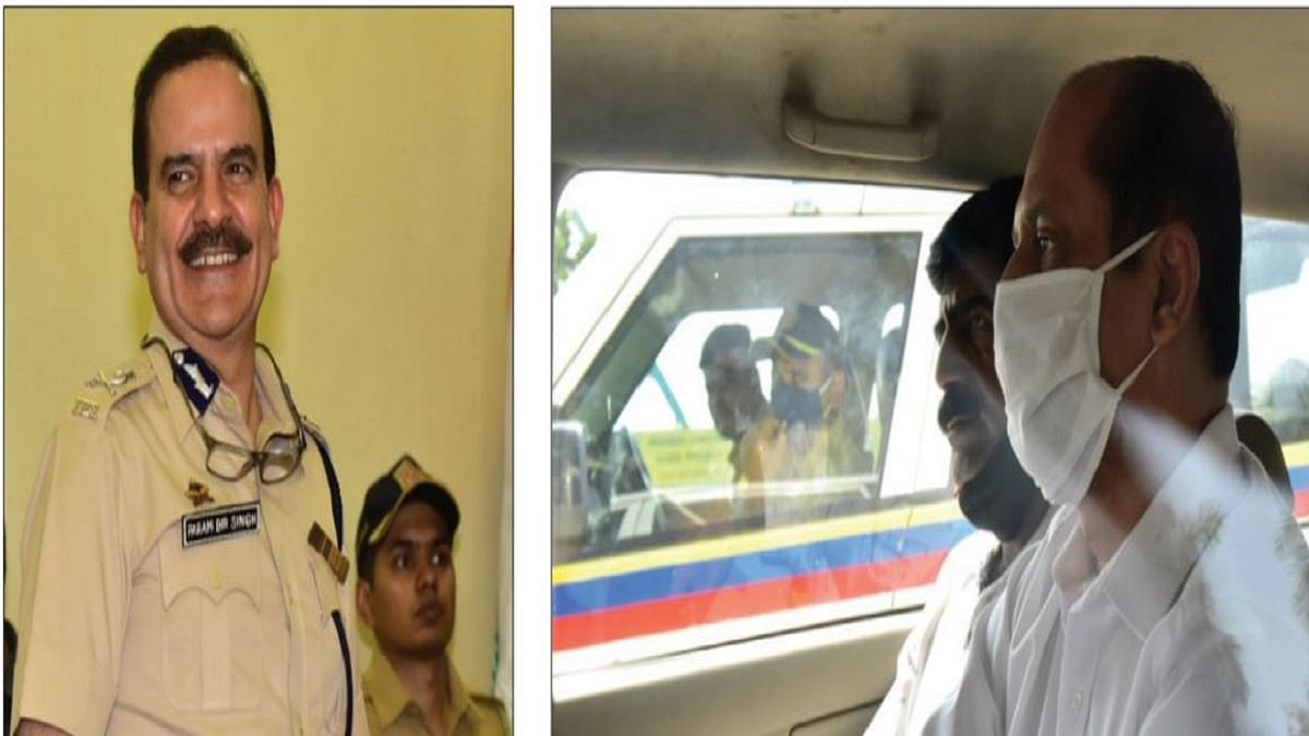 Former Mumbai Police Commissioner Parambir Singh; (right) tainted Mumbai Police Inspector Sachin Vaze in police custody