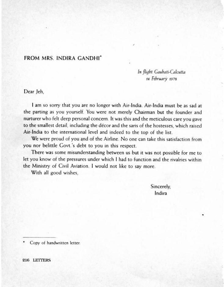 Letter written by Indira Gandhi to JRD Tata