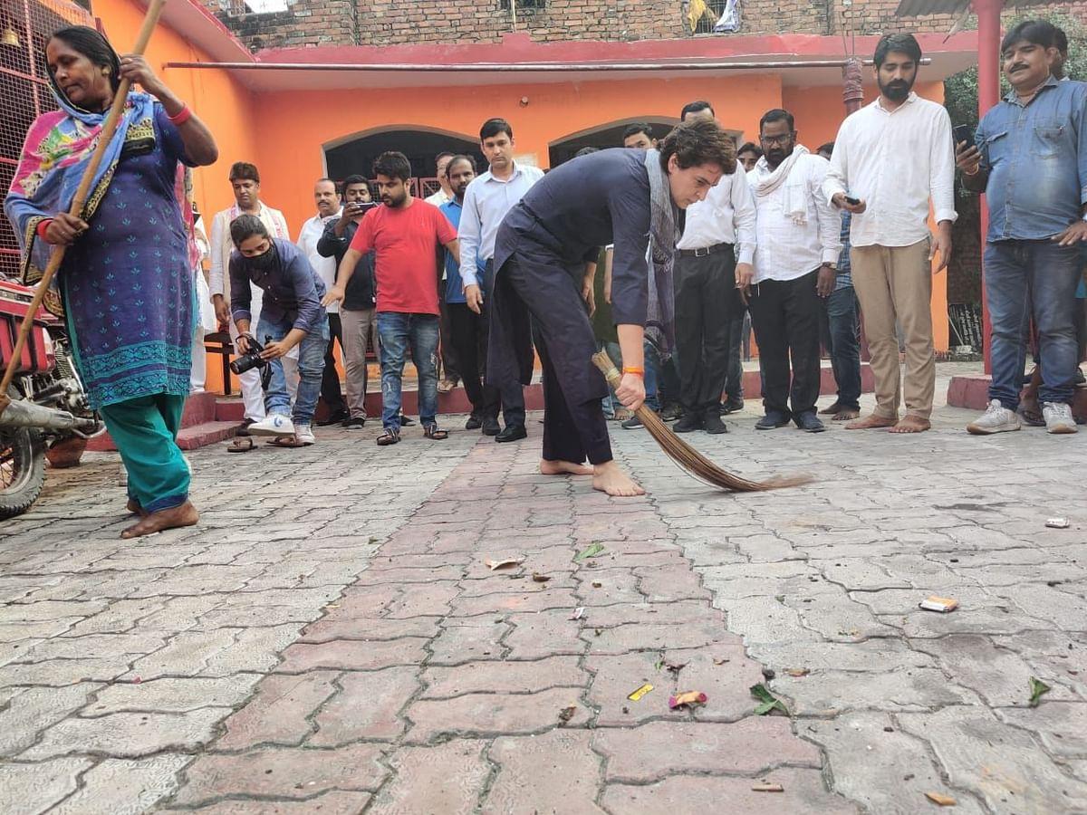 Priyanka picks up broom in Dalit hamlet in response to Yogi's comment