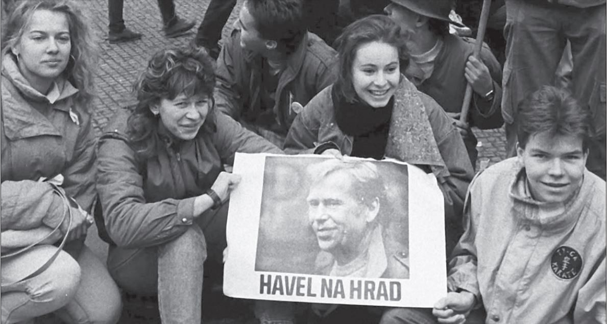 Protestors in Prague with Havel na hrad (Havel to the Castle) posters during the Velvet Revolution in 1989. Havel went on to become the first elected president of Czechoslovakia