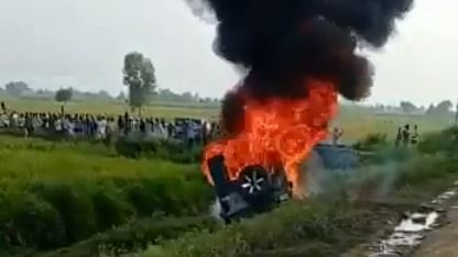 A visual from Lakhimpur Kheri after the violence broke out