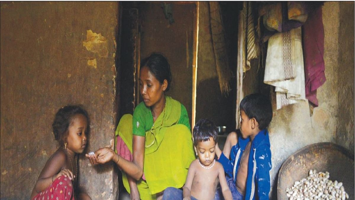 Sanmai, a widow, feeds her children boiled jackfruit seeds. That's all the family had in the name of 'food' that day. The previous day she had borrowed a little rice from neighbours to make 'Pakhal'