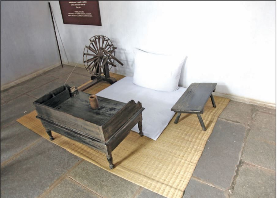 The simple office space of Gandhi. He sat on the floor, worked on a low table and met all dignitaries in this sparsely furnished room