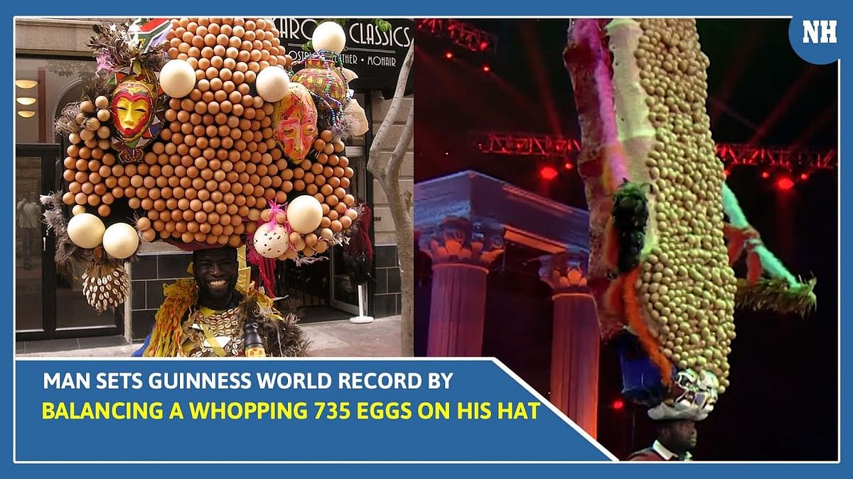 Man Sets Guinness World Record by Balancing a Whopping 735 Eggs On His Hat | Watch