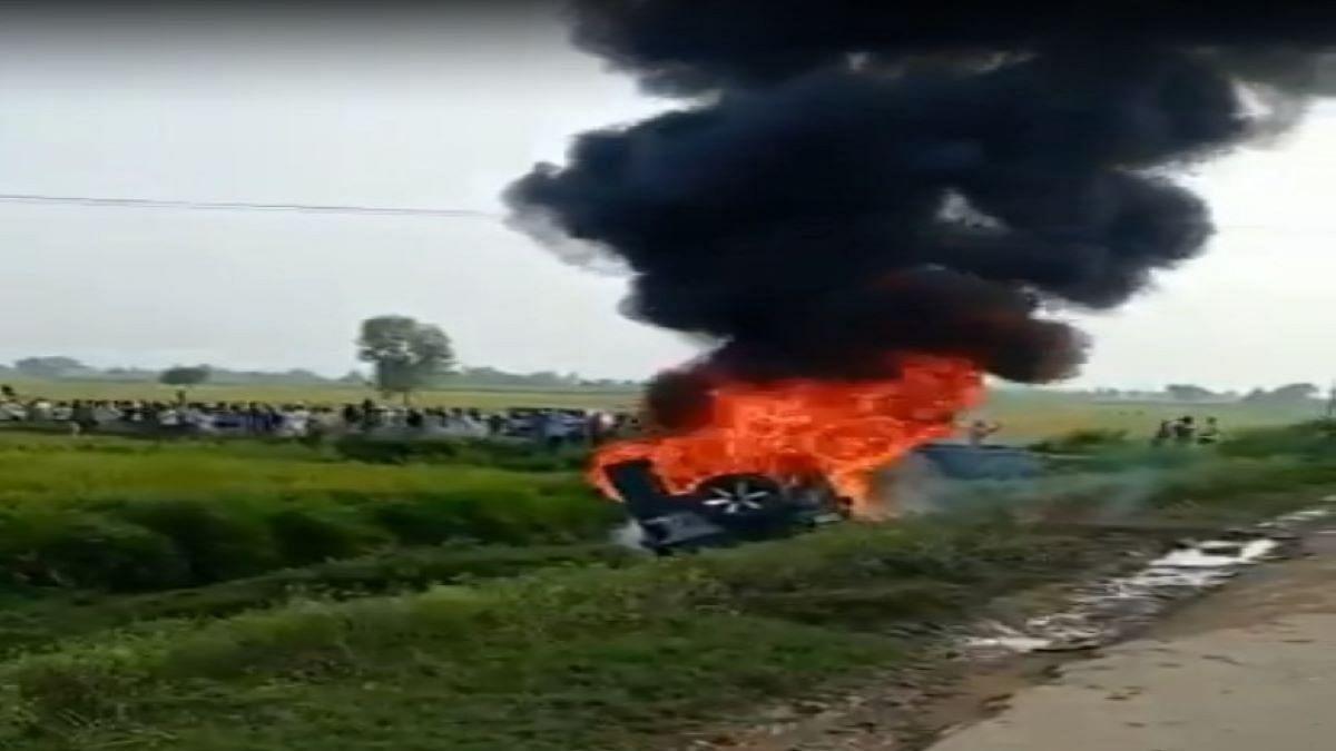 The SUV was set ablaze