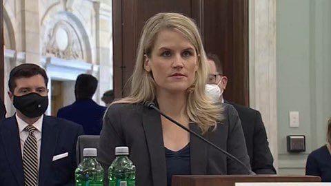 Former Facebook employee Frances Haugen appearing in US Senate (Photo: Twitter)