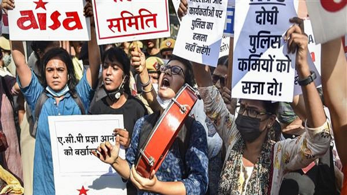 Protest outside Delhi Police headquarters against 'sexual assault' of two women students