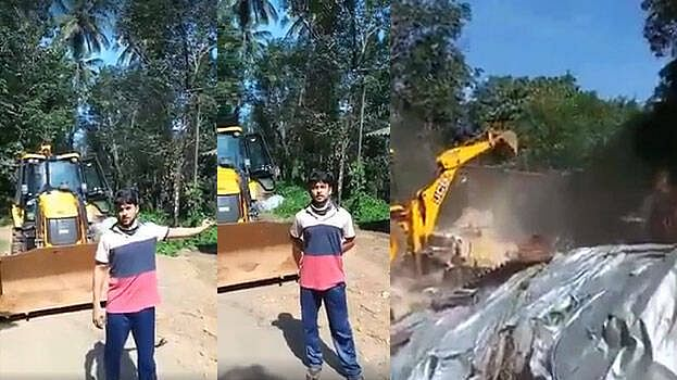 Angry Kannur youth demolishes neighbour's shop with JCB