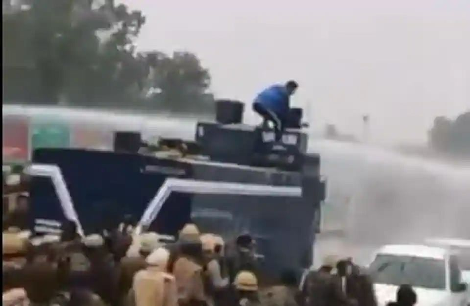 Navdeep Singh turning off the water cannon
