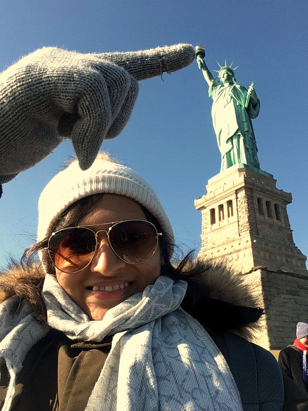 Varsha and the Statue of Liberty