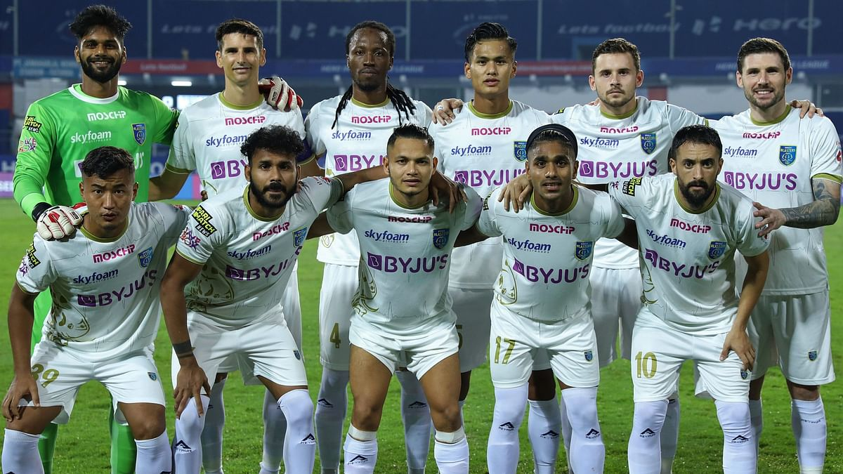 Kerala Blasters team ahead of their match with Bengaluru FC on December 13