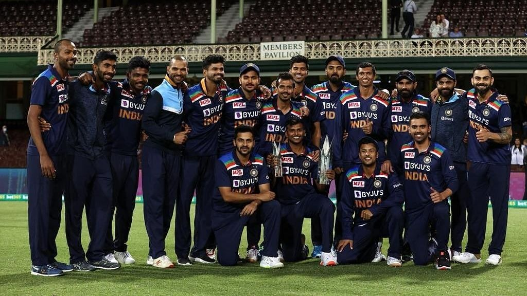 The Indian team after winning the T20I series 2-1 at Sydney Cricket Ground on Tuesday