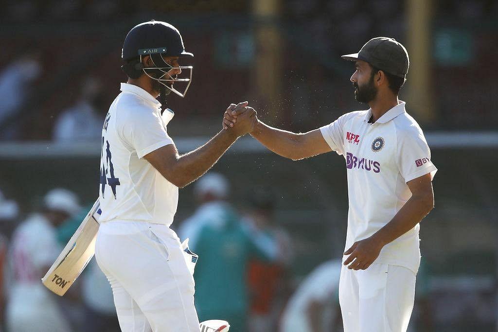 India's stand-in Test captain Ajinkya Rahane and Hanuma Vihari after India drew the third Test at Sydney