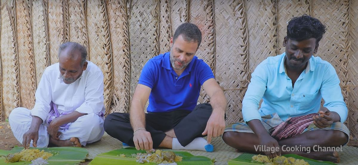 YouTube chefs from Village Cooking Channel cook tasty mushroom biryani with Rahul Gandhi