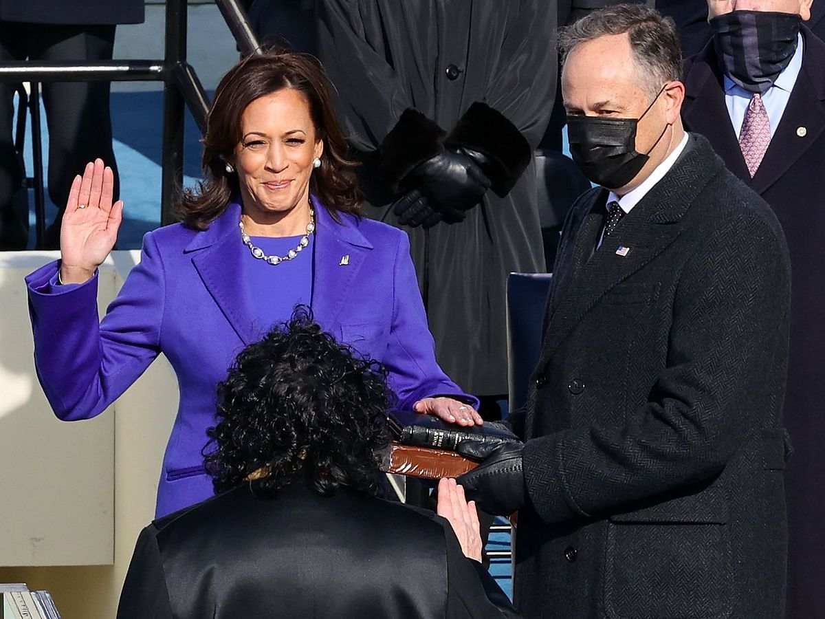 Kamala Devi Harris taking oath as the first women Vice President of the United States