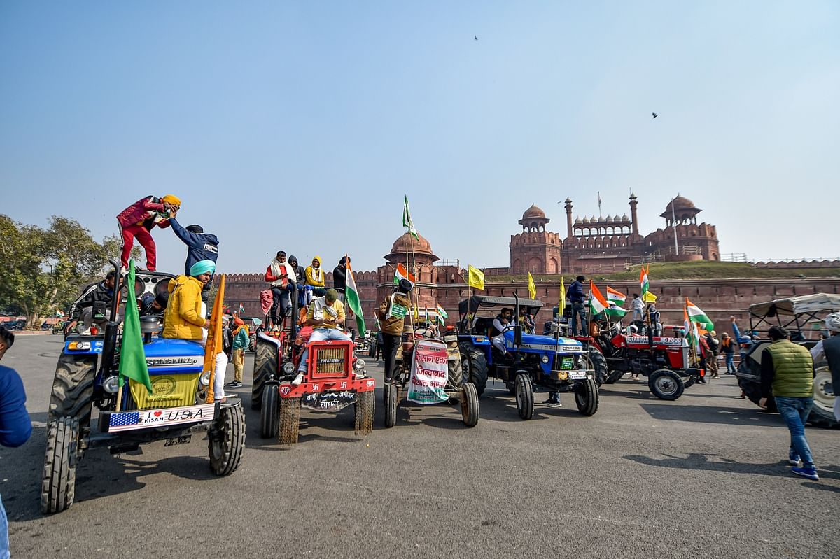 Farmers at the Red Fort in New Delhi