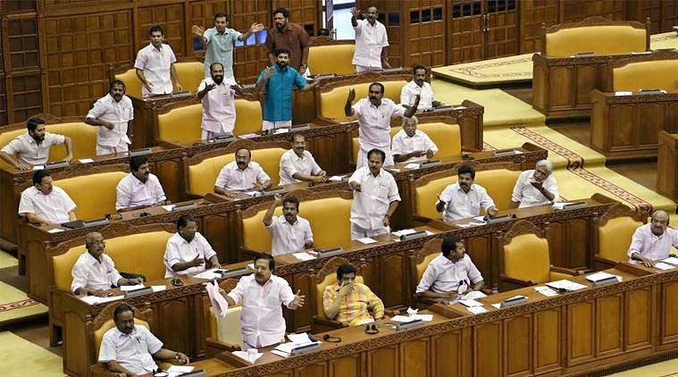 Opposition stage protest and walkout accusing Kerala Speaker of being govt's puppet