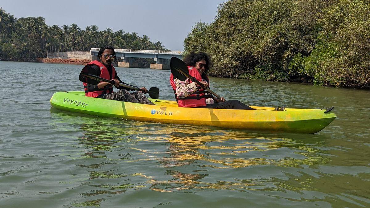Parvinder Chawla kayaking in Uduppi