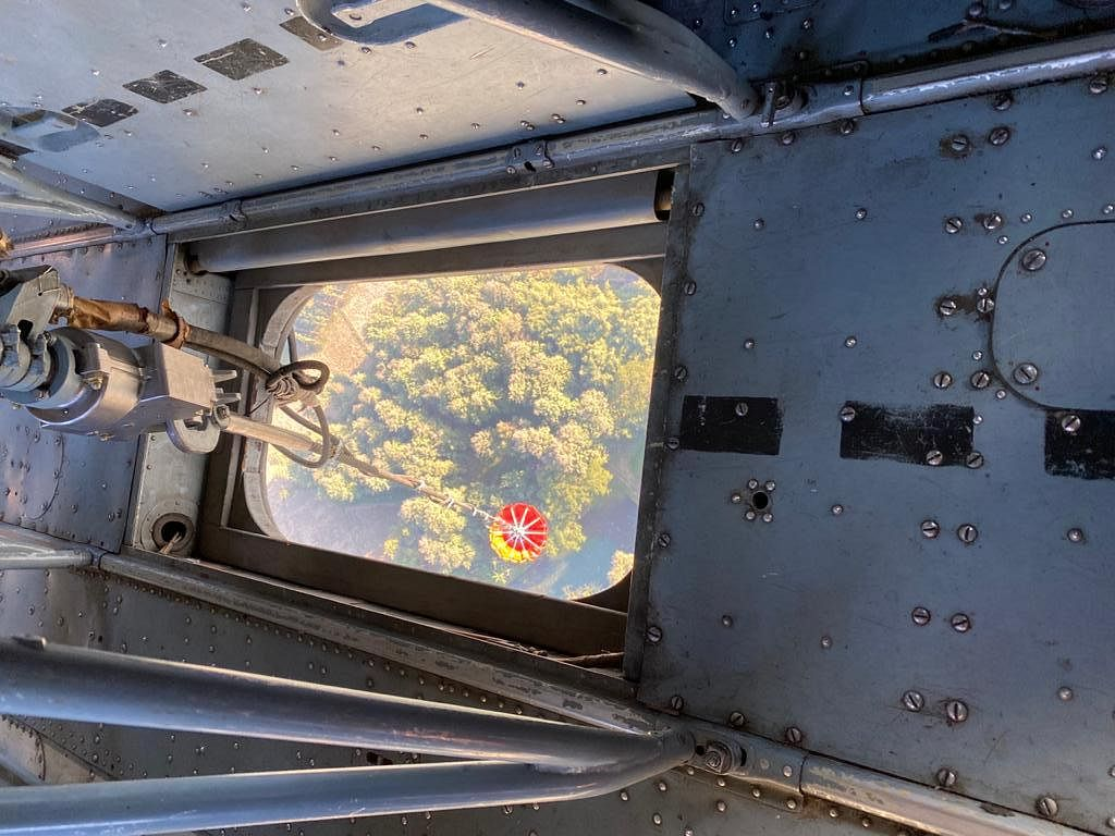 From inside the Indian Air Force's Mi-17 V5 helicopter used for dousing the forest fire in Dzukou Valley.