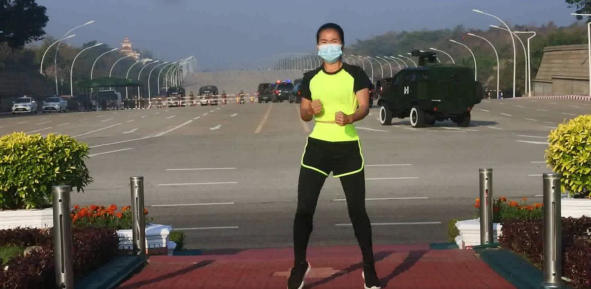 Perky music accompanies Myanmar military coup as exercise instructor unwittingly captures visuals