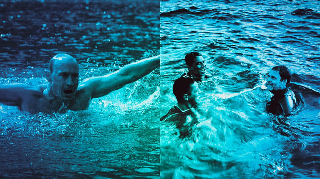 Why Rahul Gandhi plunging into the icy cold Arabian Sea is a symbol of his character and courage?