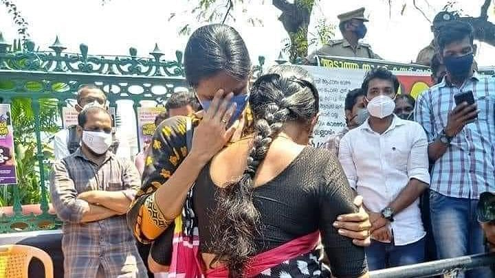 Heartbroken protesting PSC candidates crying at the Secretariat, Thiruvananthapuram
