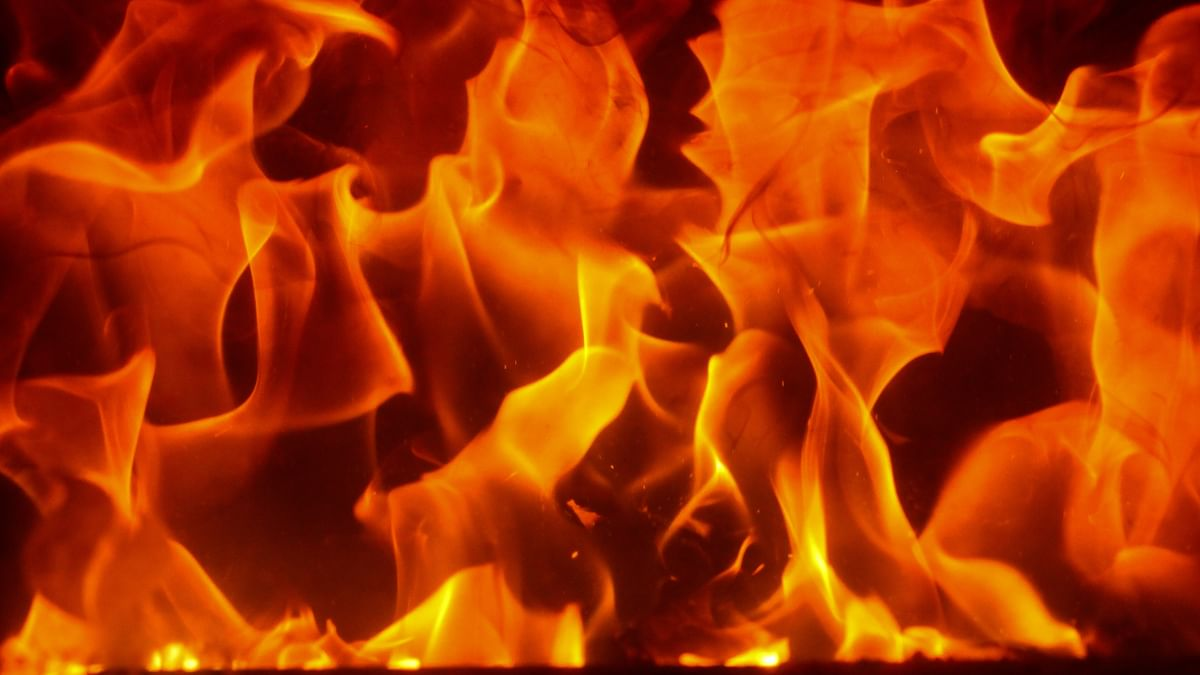 Protestors set fire to a row of shops at Cherthala during BJP hartal