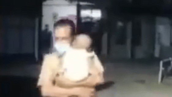 Kerala cop wins hearts in viral video of him cradling a child on his shoulder