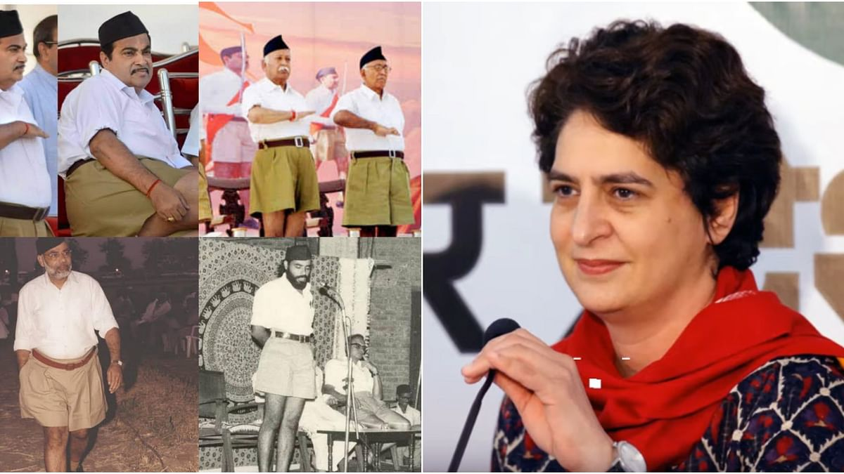 Priyanka Gandhi tweets photo of Modi, Gadkari in khaki shorts in retort to ripped jeans controversy