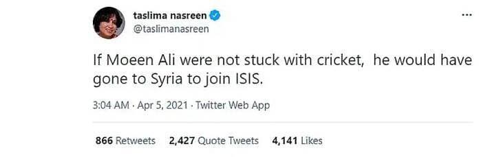 The screenshot of Taslima Nasreen's now-deleted tweet