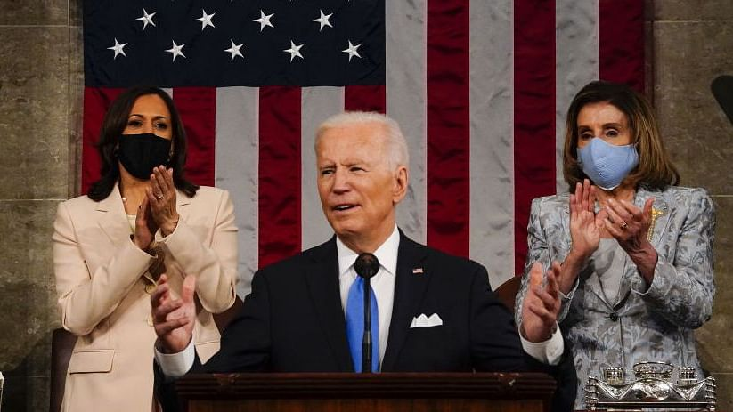 """Madam Speaker, Madam Vice President"": US makes history as Harris, Pelosi flank Biden in Congress"