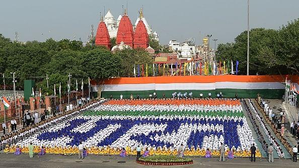 स्वतंत्रता दिवस के मौके पर बच्चों ने खूबसूरत दृश्य पेश किया / फोटो : Getty Images