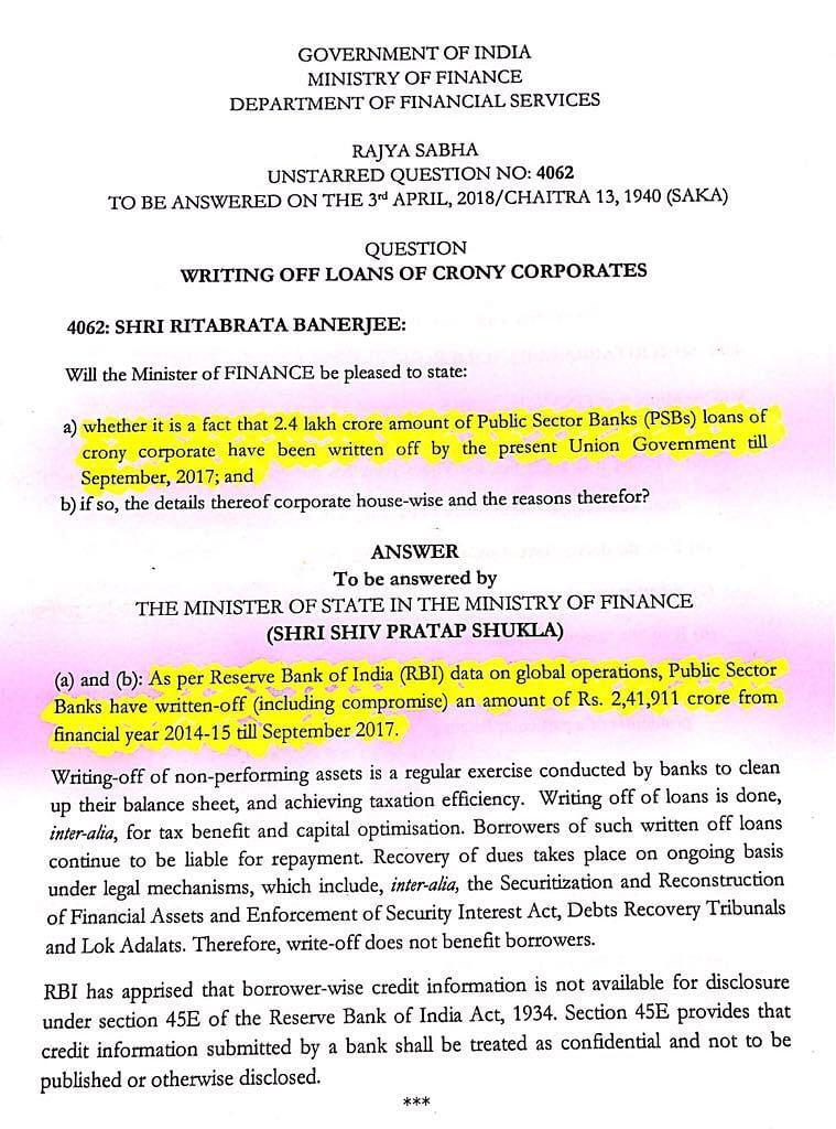 सरकार ने माना, सार्वजनिक बैंकों ने 2014 से 2017 के बीच माफ किया 2,41,911 करोड़ रुपए का कर्ज