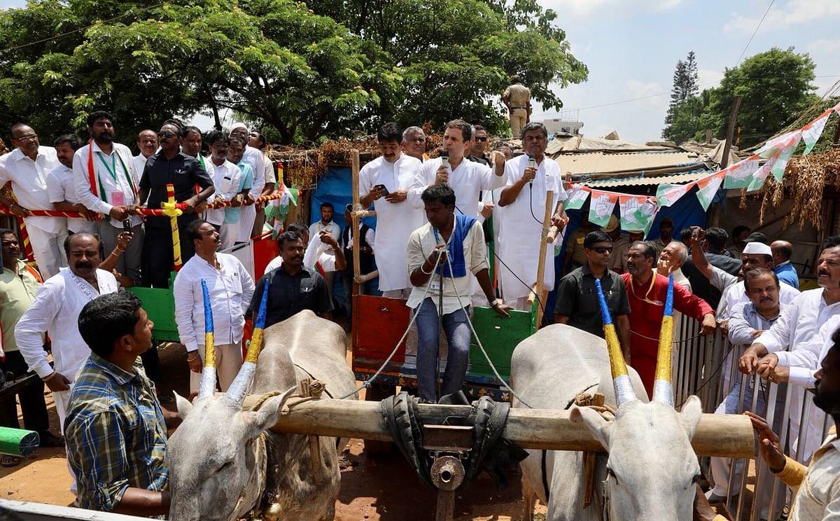 कर्नाटक चुनाव के रंग तस्वीरों में:  कभी साइकिल, तो कभी बैलगाड़ी, और कभी गैस सिलेंडर उठाए दिखे कांग्रेस अध्यक्ष
